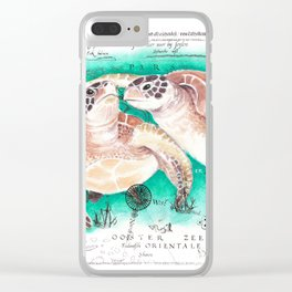 Sea Turtles Vintage Map Clear iPhone Case