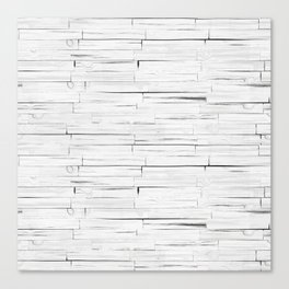 White Wooden Planks Wall Canvas Print