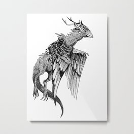 Magpie Dragon Metal Print