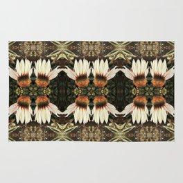 White Echinacea Garden, Coneflower Pattern Rug