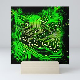 platine board conductor tracks splatter watercolor Mini Art Print