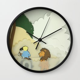 Great Lion in the Fog Wall Clock