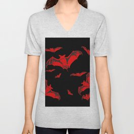 Black & Red Flying Bats Halloween Unisex V-Neck