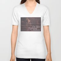 jessica lange V-neck T-shirts featuring American Horror Story Jessica Lange Flag by NameGame