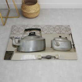 Teapot and kettle vintage stove top Kitchen equipment Rug