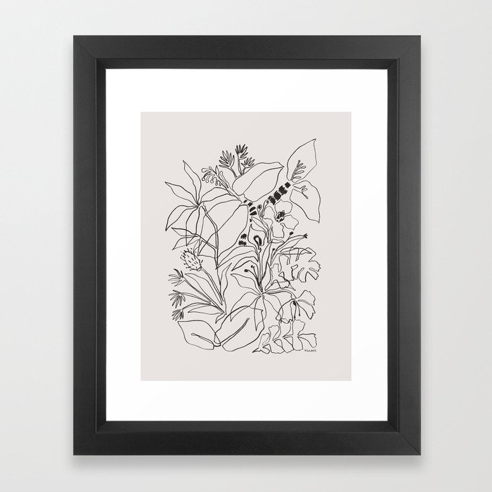 Charcoal Tropics Framed Art Print