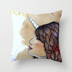 unicorn girl Throw Pillow
