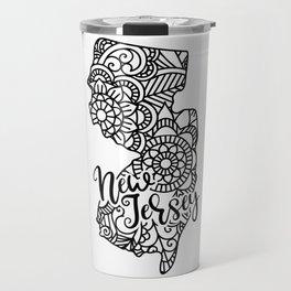 New Jersey State Mandala USA America Pretty Floral Travel Mug