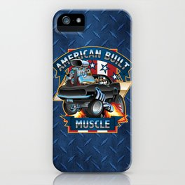 American Built Muscle - Classic Muscle Car Cartoon Illustration iPhone Case