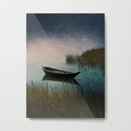 Midnight Paddle in Teal Indigo and Pink Metal Print