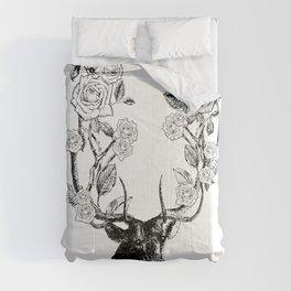 The Stag and Roses | Deer and Flowers | Vintage Stag | Vintage Deer | Antlers | Black and White | Comforters