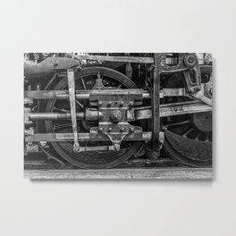 Driven Vintage Steam Locomotive Crosshead Detail Drive Wheel Black and White Metal Print