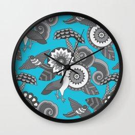 Birds of a Feather   Bird Cloud Tree Pattern   Blue Wall Clock