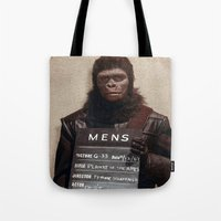 planet of the apes Tote Bags featuring Planet of the Apes  by Rotton Cotton Candy