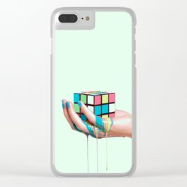 MELTING RUBIKS CUBE Clear iPhone Case