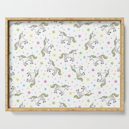 Unicorns and Stars - White and Rainbow scatter pattern Serving Tray