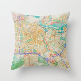Amsterdam in Watercolor Throw Pillow