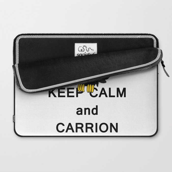 Keep Calm and Carry On Carrion Vulture Buzzard with Crown Meme Laptop Sleeve
