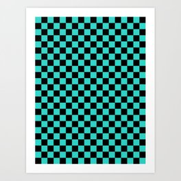 Black and Turquoise Checkerboard Art Print