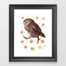 Autumn owl with leaves Framed Art Print