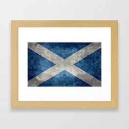 Scottish Flag - Vintage Retro Style Framed Art Print
