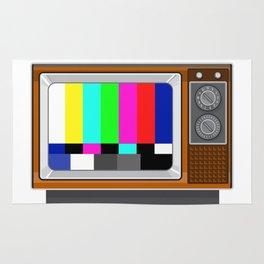 Retro Television Set TV Test Card Signal Pattern Rug