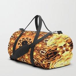 Yellow Brown Mandala Abstract Flower Duffle Bag