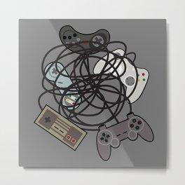 Tangled Joysticks Metal Print