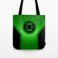 green lantern Tote Bags featuring Green Lantern by MiliarderBrown
