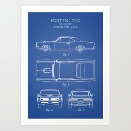 Gto art prints society6 pontiac gto patent print pontiac gto poster muscle car decor pontiac gto blueprint malvernweather Images