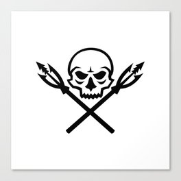 Human Skull Crossed Fishing Spear Mascot Canvas Print