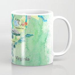 USA West Virginia State Travel Poster Map mit touristischen Highlights Coffee Mug