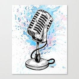 Vintage Microphone (Splash Music) Canvas Print