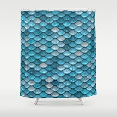 Luxury turquoise mermaid sparkling glitter scales - Mermaidscales Shower Curtain