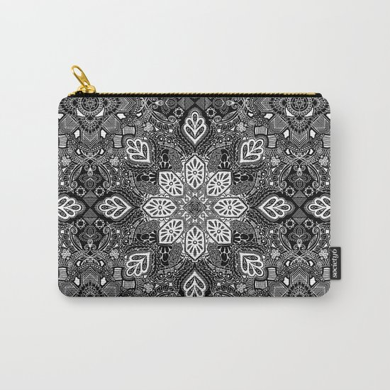 Gypsy Lace in White on Black Carry-All Pouch