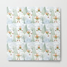 Whimsical Animals Deer Ice Skating On The Forest Lake  Metal Print