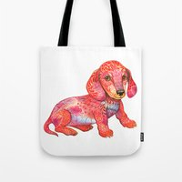 mini Tote Bags featuring Mini Dachshund  by Ola Liola