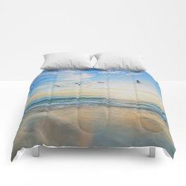 Beach - Ocean - Sundown - Sunrise - Seashore - Birds - Clouds Comforters
