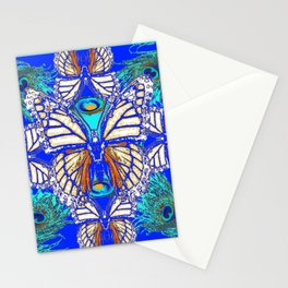 TURQUOISE & CREAM COLORED BUTTERFLIES  BLUE PEACOCK ART Stationery Cards