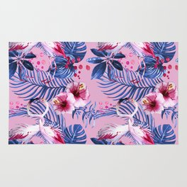 watercolor illustration of a tropical leaf and a pink flamingo watercolor illustration Rug