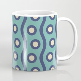 Mid Century Modern Rising Bubbles Pattern Turquoise and Blue Coffee Mug