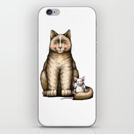 """""""Peace....now we're friend"""" (cat and mouse) iPhone Skin"""
