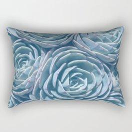 Blue and Green Succulent Rectangular Pillow