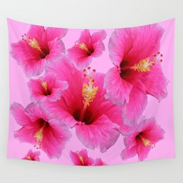 GIRLY TROPICAL PINK HIBISCUS ART Wall Tapestry