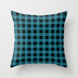 Teal & Black Checker Throw Pillow
