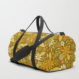 1970s Retro Flowers Pattern in Yellow, Orange & Olive Green Duffle Bag
