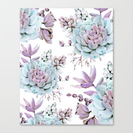 Turquoise and Violet Succulents Canvas Print