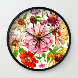 Zinnia Wildflower Floral Painting Wall Clock