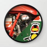 ducati Wall Clocks featuring Ducati Motor by Internal Combustion
