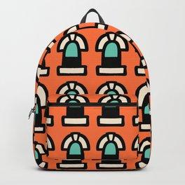 New York Windows Pattern 261 Orange and Green Backpack
